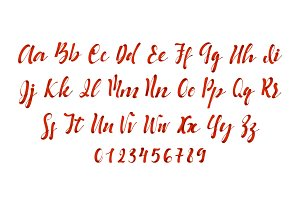 Latin alphabet red. Vector font