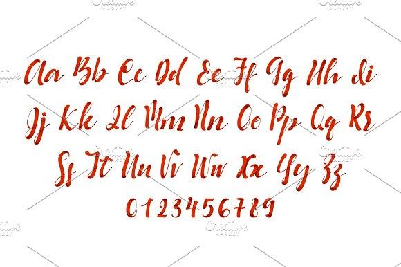 Latin Alphabet Red Vector Font