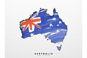 Map with Flag of Australia.