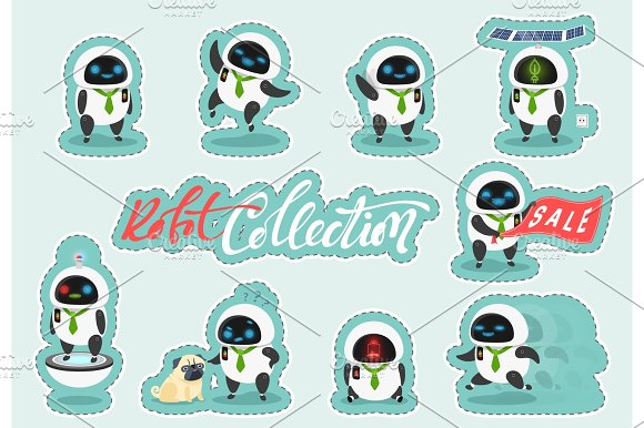 Sticker Character Modern Robot In Cartoon Doodle Flat Style
