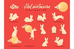 Set of rabbits, bunny