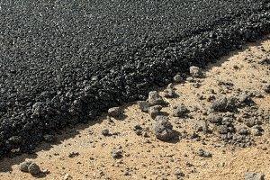 Asphalt and asphalting the road