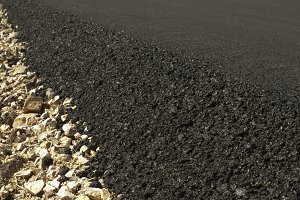 Newly built asphalt road