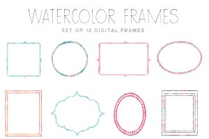 Watercolor Digital Frames - Doodles
