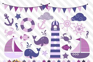 Purple Nautical Vector Clipart