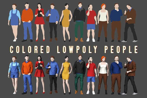 3D People Models: kanistra studio - Varicolored Lowpoly People Volume 1