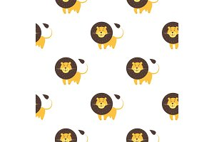 Cartoon Lion Seamless Pattern on White Background.