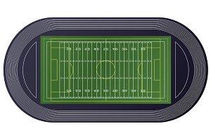 American Football Field Top View.