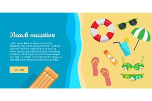 Beach Vacation Flat Design Vector Web Banner