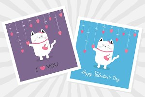 Valentines Day card set. Cute cats.