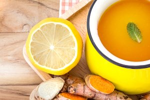 cup of Turmeric Tea with lemon
