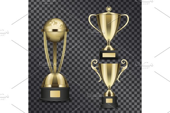 Shiny Gold Trophy Cups Isolated Illustrations Set
