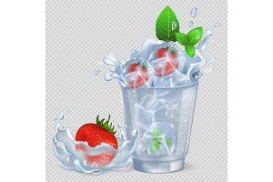 Frozen Strawberry and Mint in Glass with Water