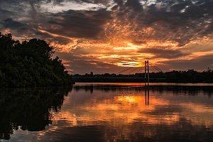 Sunset near Kwanza bridge in Angola