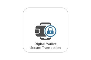 Flat Digital Wallet Secure Transaction concept