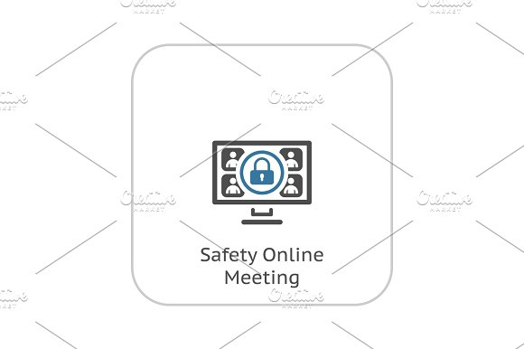 Safety Online Meeting Icon Flat Design