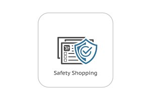Safety Shopping Icon. Flat Design.