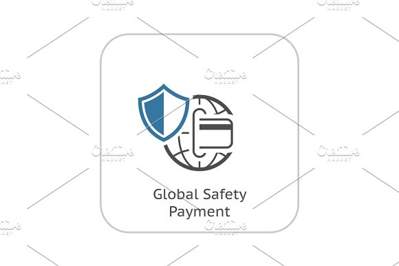 Global Safety Payment Icon Flat Design