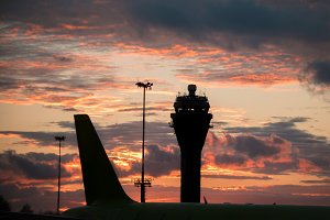 Sunset at International airport - control tower