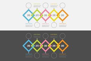 Timeline Infographic rhombus set