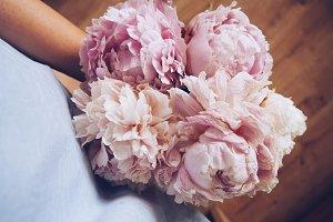 bouquet of peonies, lifestyle photo