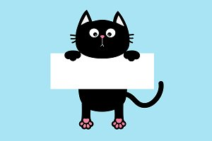 Black cat hanging on paper board