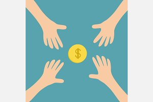 Hands reaching to cash gold coin