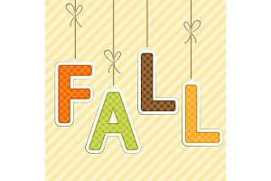 FALL background as retro fabric letters on strings in autumn colors