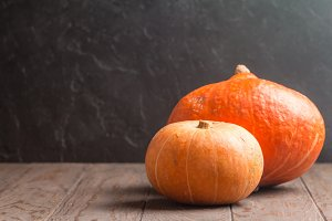 Autumn Pumpkins, rustic background