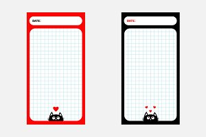 Paper Note Planner set. Cute cats
