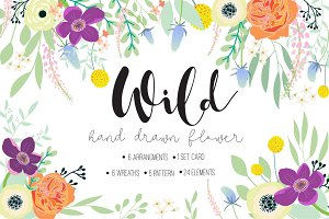 Wild FLOWER Hand drawn elements