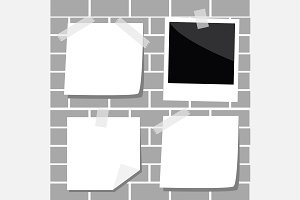 Note paper Empty photo frame Tape
