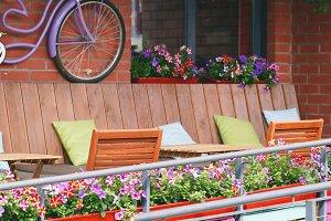 Street café terrace in vintage European style