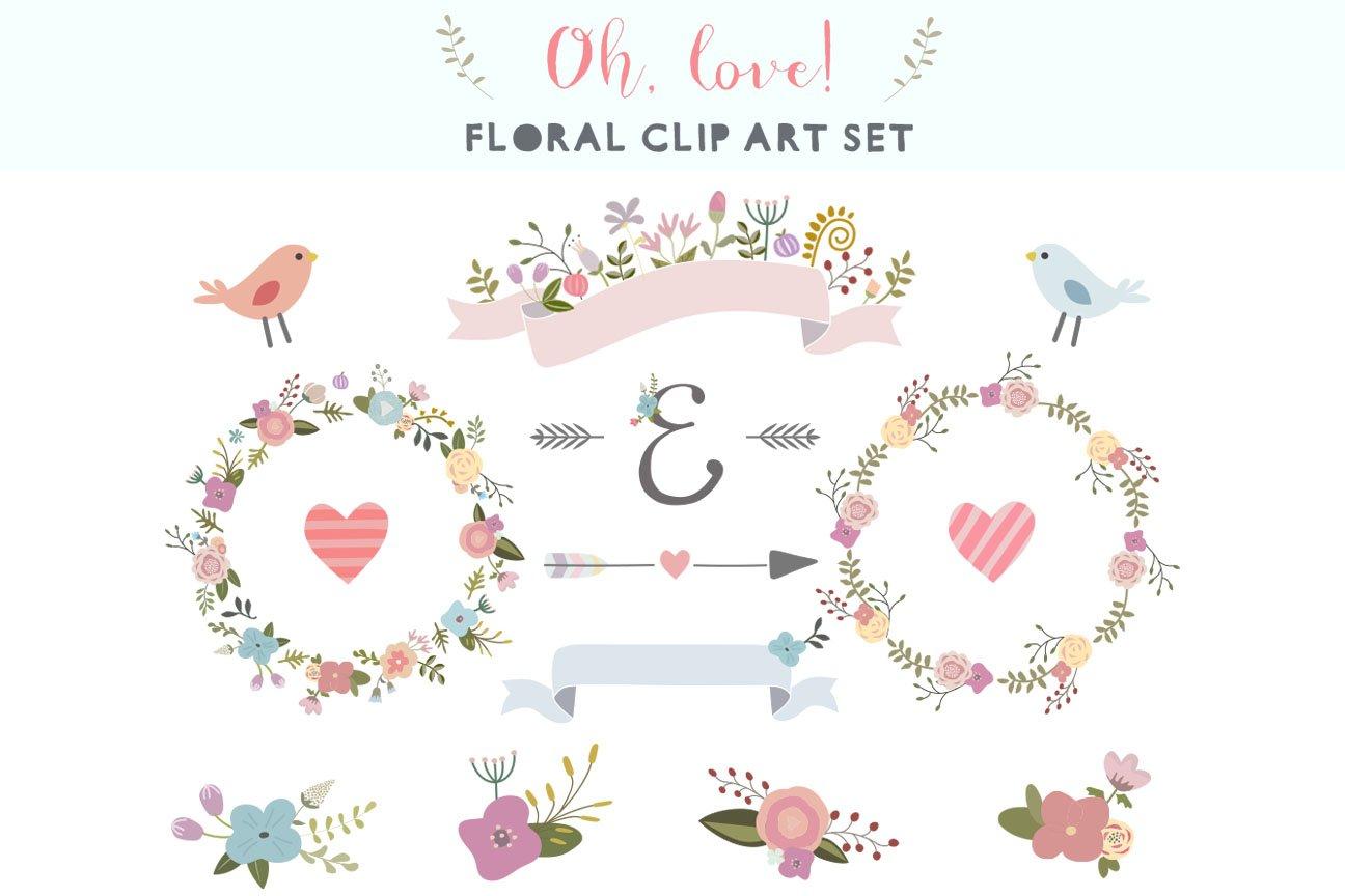 Oh Love Floral Clip Art Set Illustrations Creative