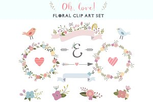 Oh, love! floral clip art set