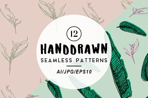 Floral Seamless Hand Drawn Patterns