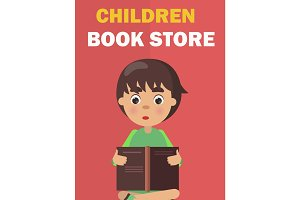 Children Book Store Banner with Boy Rreads Vector