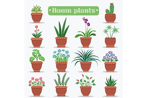 Decorative Room Plants in Clay Pots Illustrations