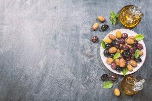 Pickled green and black Mediterranean olives