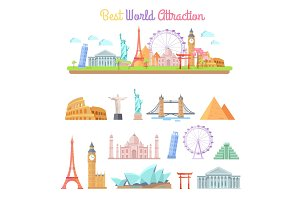 Best World Attractions Cartoon Illustrations Set