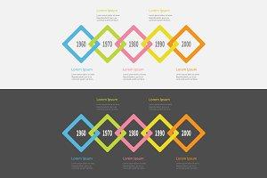 Rhombus Timeline Infographic set