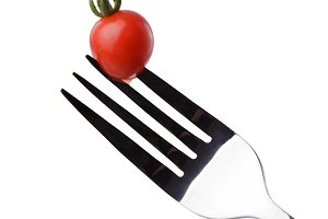 Tomato cherry on a fork
