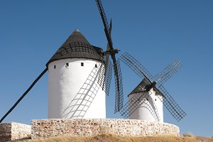 White ancient windmill