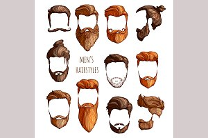 Set of men's hairstyles.