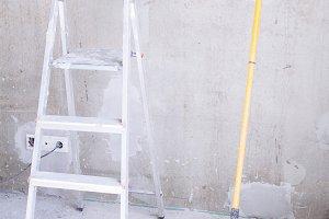 Bucket,  brush roller and ladder