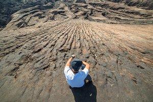 Man on top of mount bromo volcano