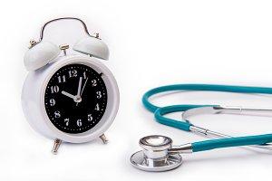 Retro alarm clock with stethoscope