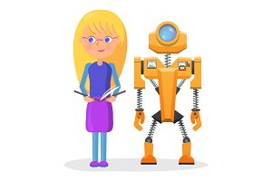Blonde Girl in Glasses with Copybook and Robot