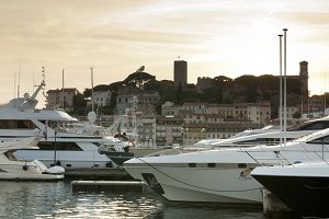 Yachts moored in Cannes