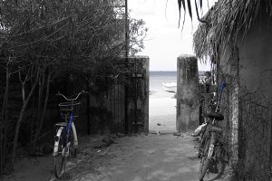 Blue vintage bike at beach